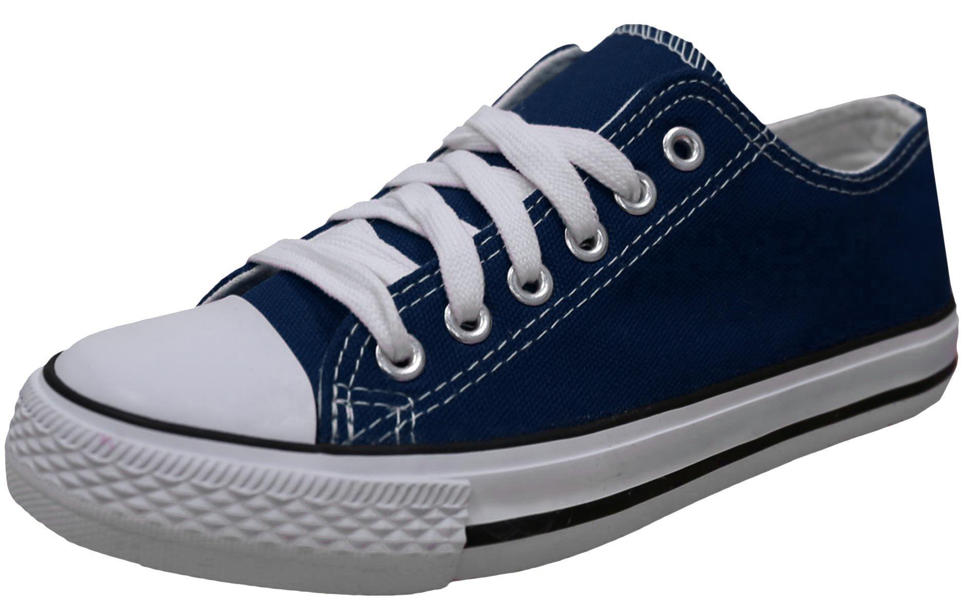 S-3 Women's Low Top Classic Canvas Fashion Sneaker (6 B(M) US, Navy)
