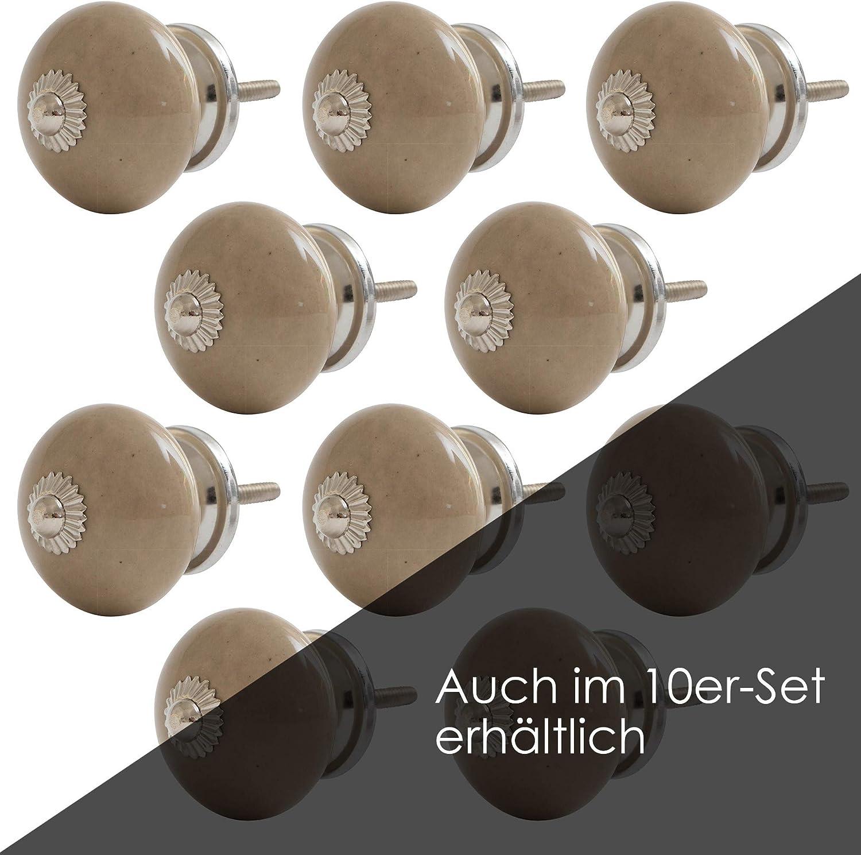 MAC 36 Knober M/öbelkn/öpfe Caf/é Latte Cream Keramik Porzellan Vintage Landhausstil Shabby-Chic 40mm Knauf T/ürgriff