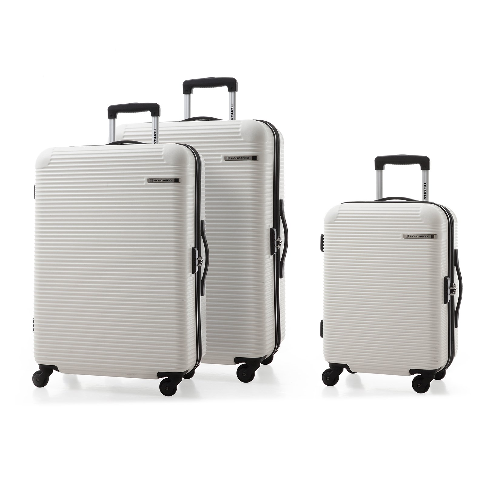 HONCARDO Luggage 3 Pieces Lightweight Spinner Suitcase (20'', 24''&28''), White
