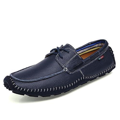 Esthesis Hombre Zapatos de Cuero Genuino Mocasines con Cordones Mocasines: Amazon.es: Zapatos y complementos