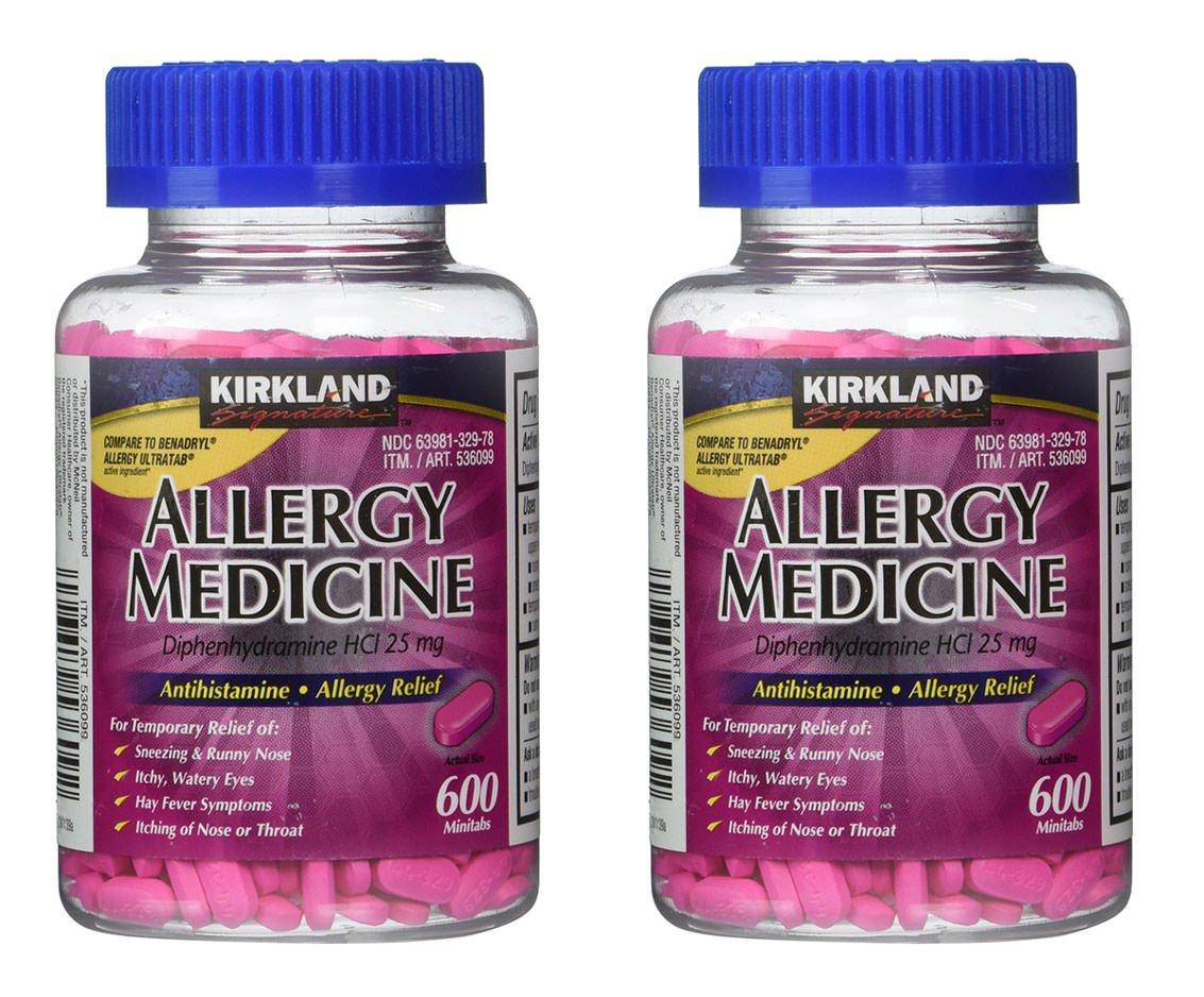 Diphenhydramine HCI 25 Mg - Kirkland Brand - Allergy Medicine and AntihistamineCompare to Active Ingredient of Benadryl Allergy Generic, 600 Count, 2 Pack