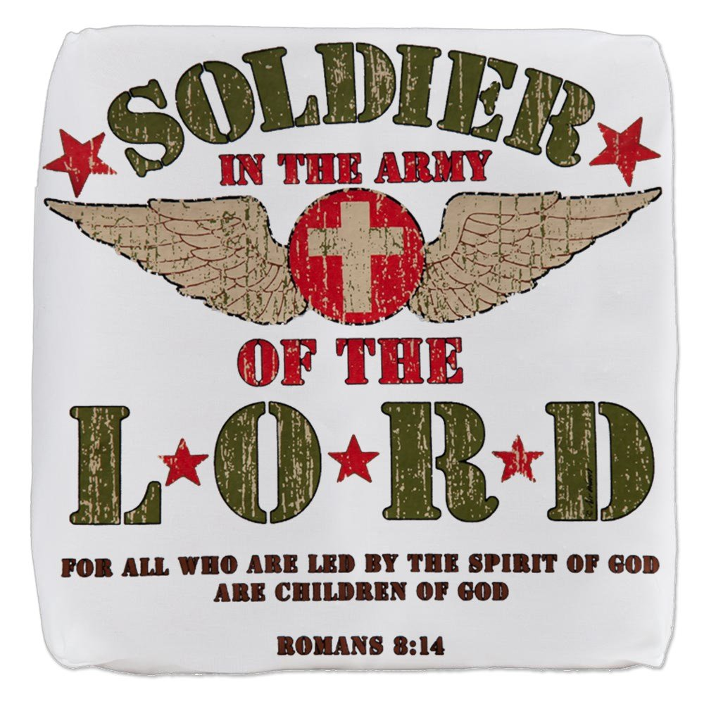 18 Inch 6-Sided Cube Ottoman Soldier in the Army of the Lord by Royal Lion