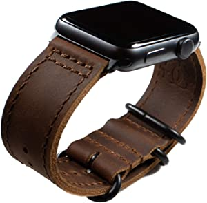 Grit & Grazia Premium Leather NATO Apple Watch Band Compatible with 42mm 44mm Series 6 5/4/3/2/1 and SE iWatch, Apple Watch Replacement Strap (Coffee Brown, 42/44mm)