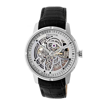 fd36a903f Heritor Automatic Men's 'Ryder Skeleton' Automatic Movement Stainless Steel  and Leather Watch, Color