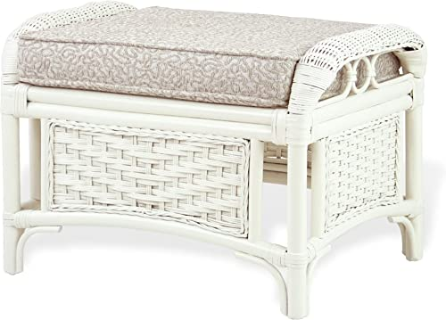 Alexa Ottoman White Color Natural Rattan Wicker Handmade Design