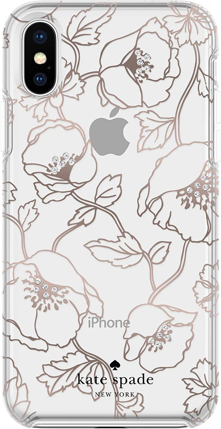 kate spade new york Cell Phone Case for iPhone X - Multi Dreamy Floral Rose Gold with Gems