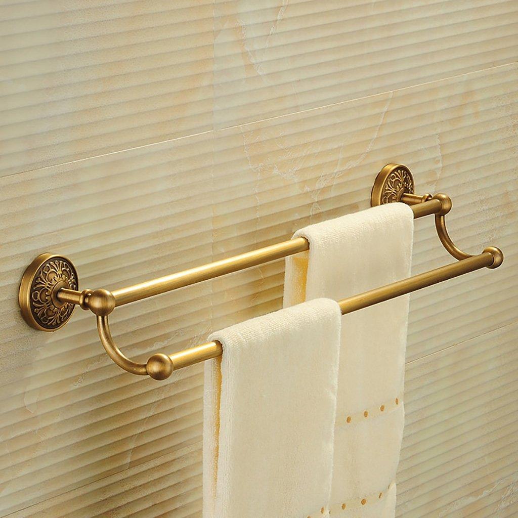 タオルラックウォールマウントウォールマウント銅タオルロッドダブルポールタオルラックのドアの浴室のキッチン B07D8SS8T6