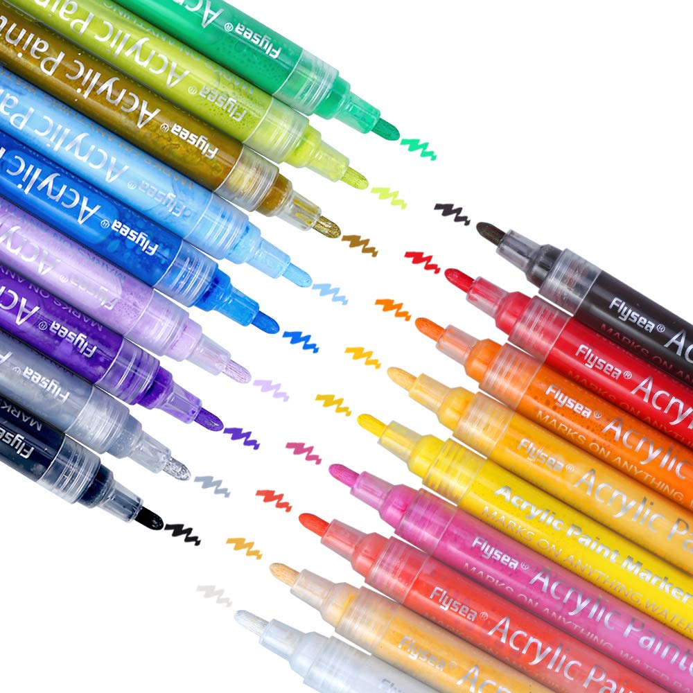 Vegkey Acrylic Paint Markers Pens Set,18 Colors of Acrylic Marker for Paper,Rock Painting, Mug Design, Ceramic Art, Glass, Metal, Wood, Fabric, Crafting, Leather,Best for Artists,Kids and Adults