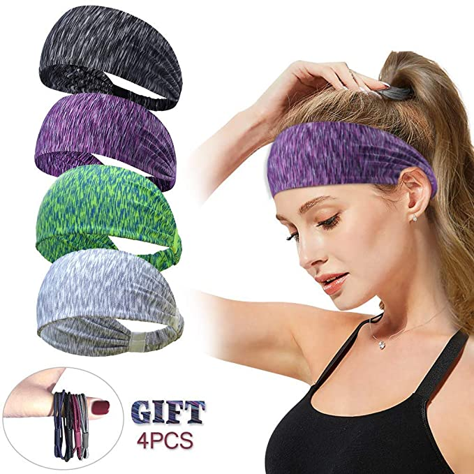 Women Men Sport Workout Headband Non Slip Lightweight Soft Wicking Stretchy Multi Style Bandana Head Wrap Ideal for Yoga/Pilates/Dancing/Running/Cycling/Fitness Exercise/Travel (Style 4 (4 Pcs)) best fitness headbands