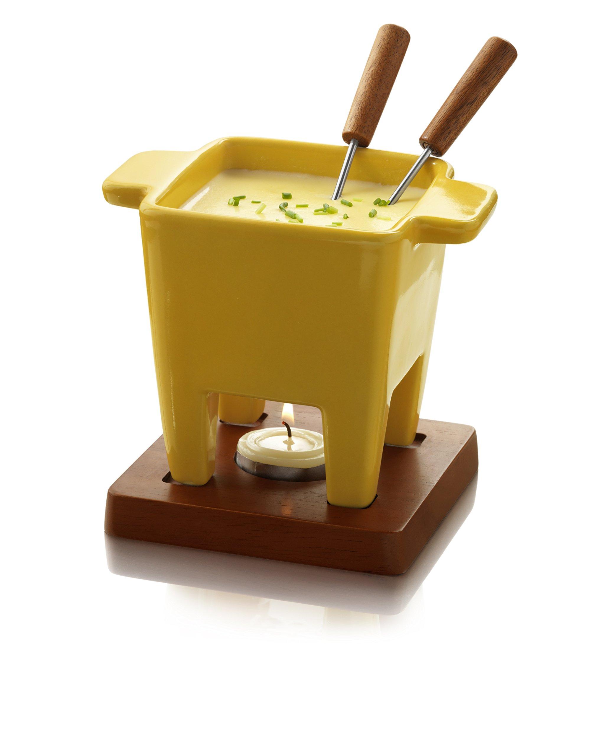 Boska Holland Tealight Fondue Set, For Cheese or Chocolate, Tapas, 200 mL, Yellow, Dutch Collection