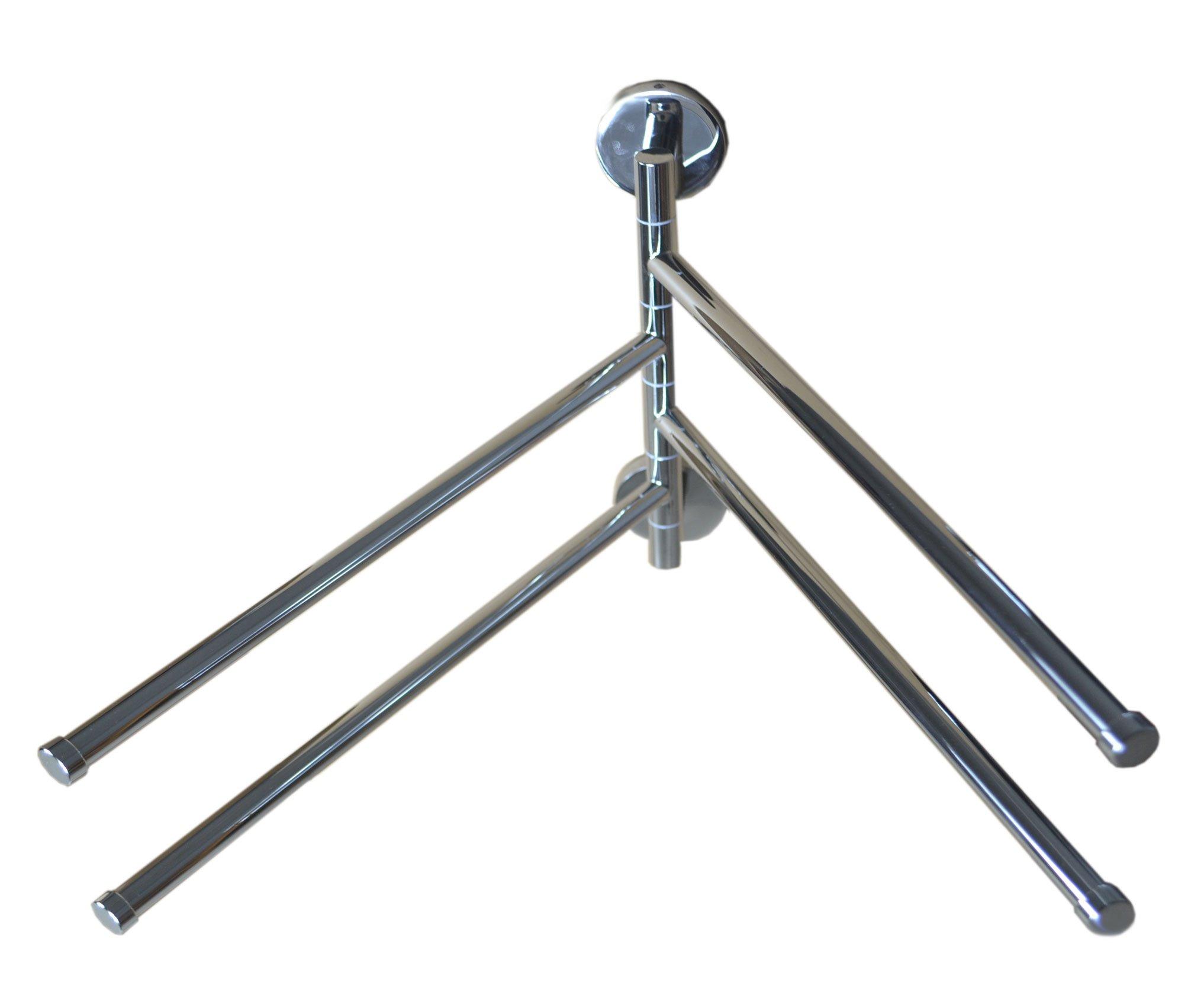 Bathroom Wall-Mounted Swing 4-Arm Towels Rack,Stainless Steel (Set of 1)
