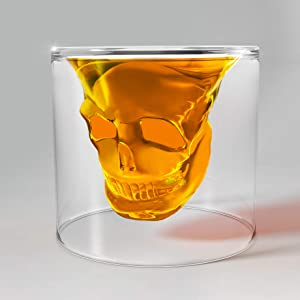 Unique Transparent Skull Shot Glass for Whiskey, Vodka, Cocktail Double Layer Halloween Party Design (1pcs)