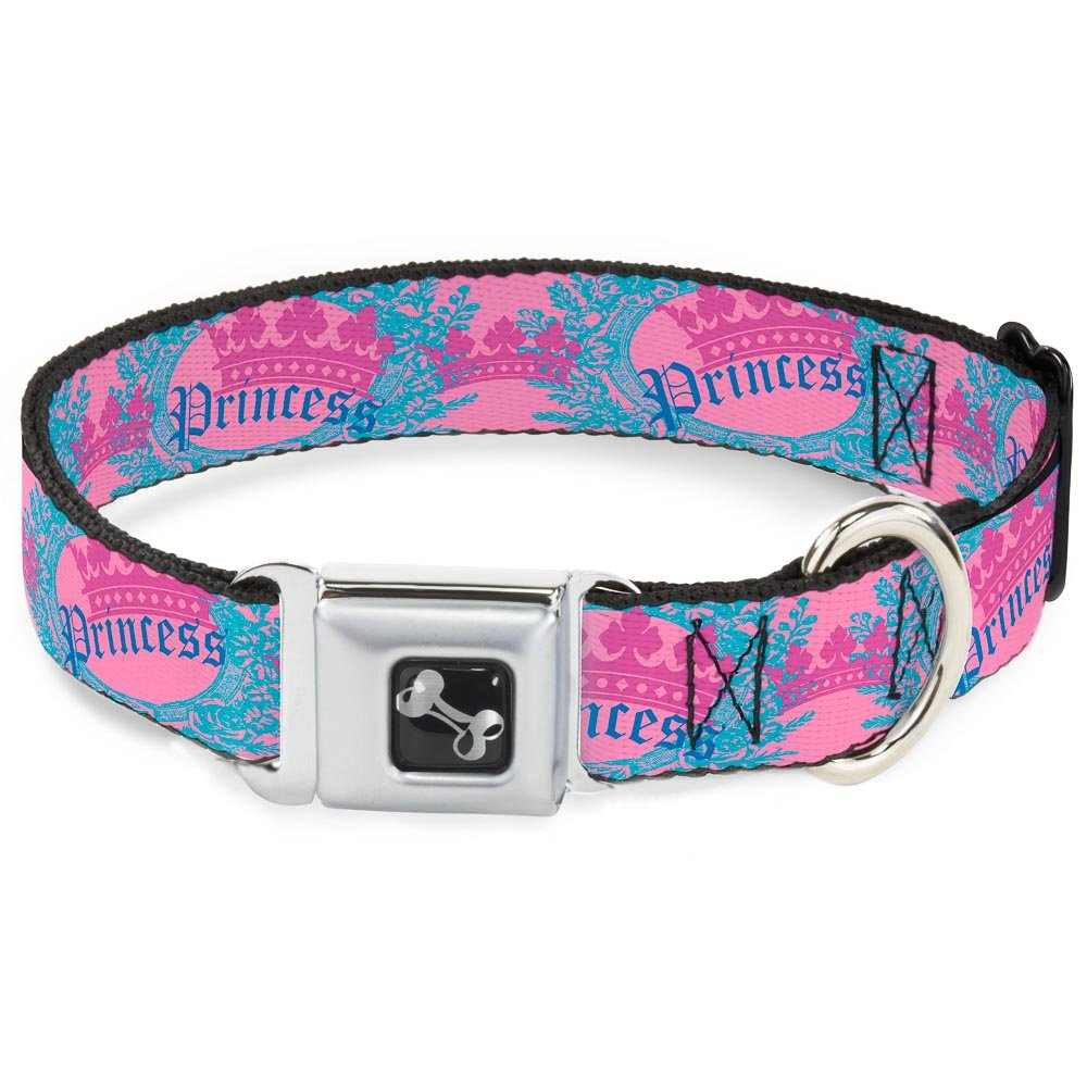Crown Princess Oval Pink Turquoise 1.5\ Crown Princess Oval Pink Turquoise 1.5\ Buckle-Down Crown Princess Oval Pink Turquoise Dog Collar Bone, Wide Large 18-32
