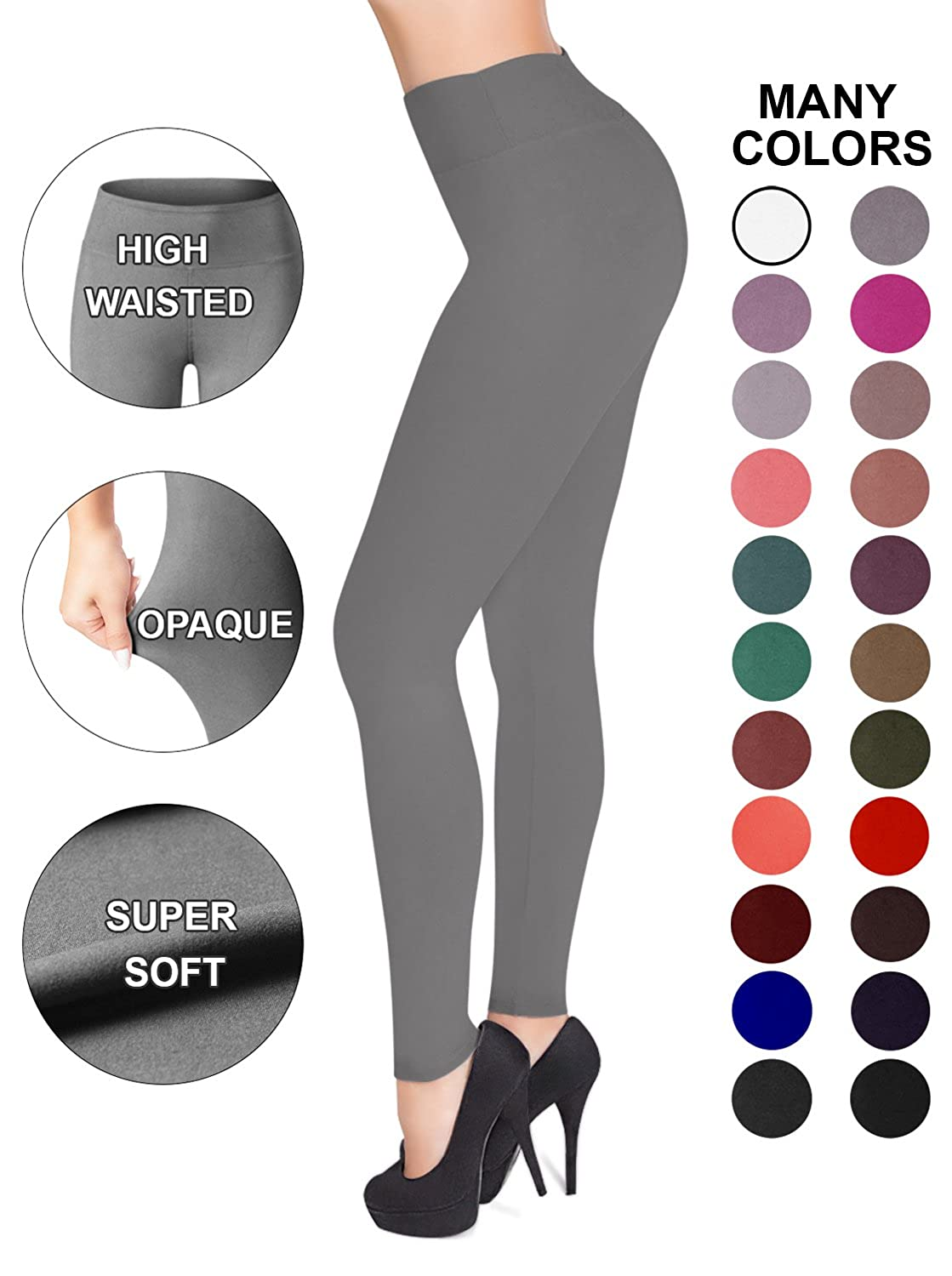 Sejora Satina High Waisted Leggings   25 Colors   Super Soft Full Length Opaque Slim by Sejora