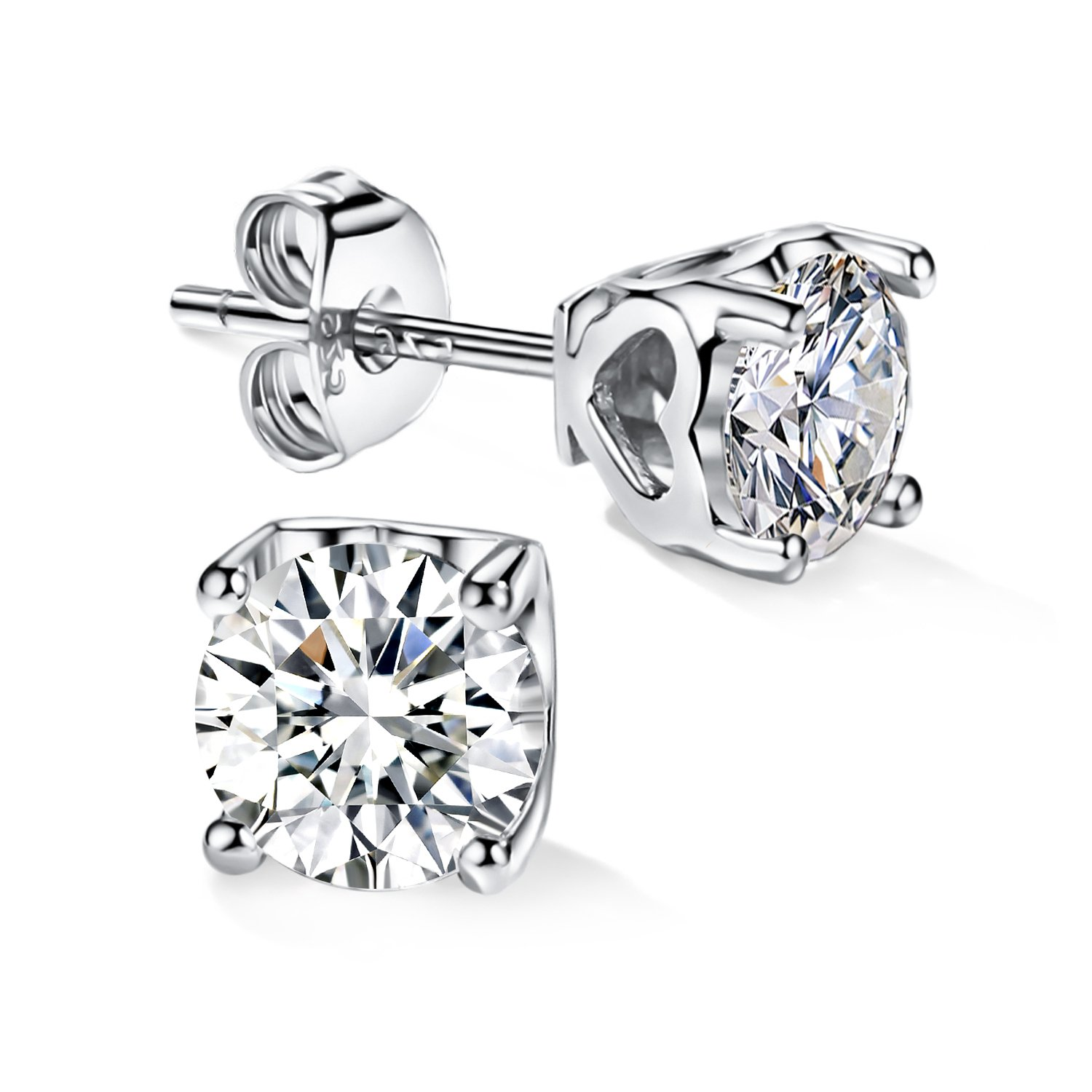 14K Gold Plating Sterling Silver Round Cut CZ Stud Earrings