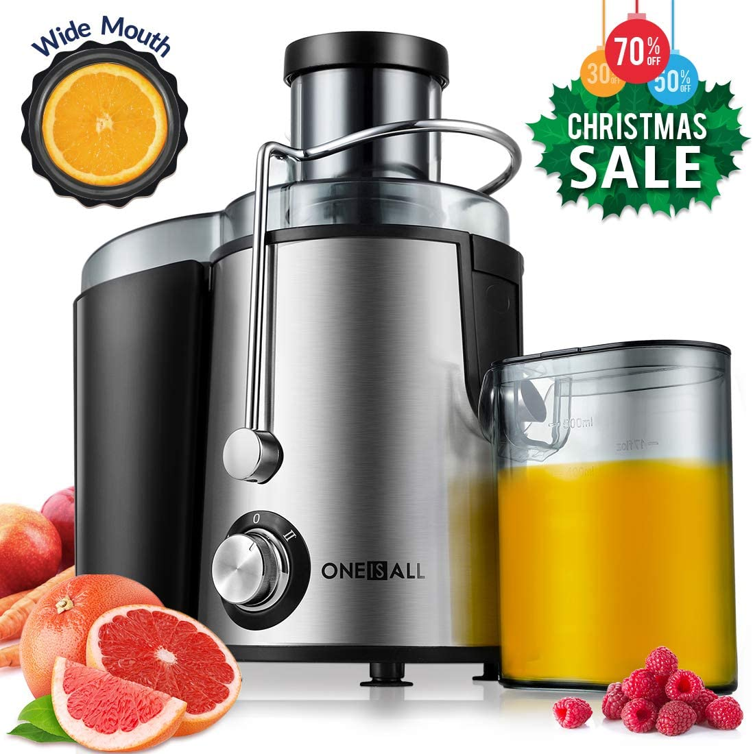 Juicer, Oneisall Juice Extractor with Anti Drip Spout, Ultra Fast Extract Centrifugal Juicer for Fruits and Vegetables, Easy to Clean plus Quiet Motor