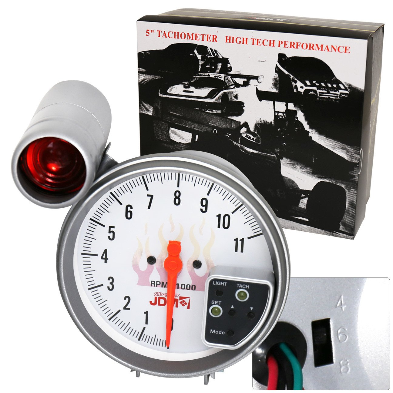 Ajp Distributors Universal 5 White Face Jdm Tachometer 0 Mustang Tach Wiring Rpm Gauge With 7 Color Display And Shift Light Automotive