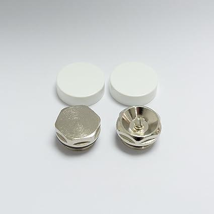 2 Tapas Blancas para Tapón Ciego de Radiador Toallero y Ventila de Aire / Válvula de