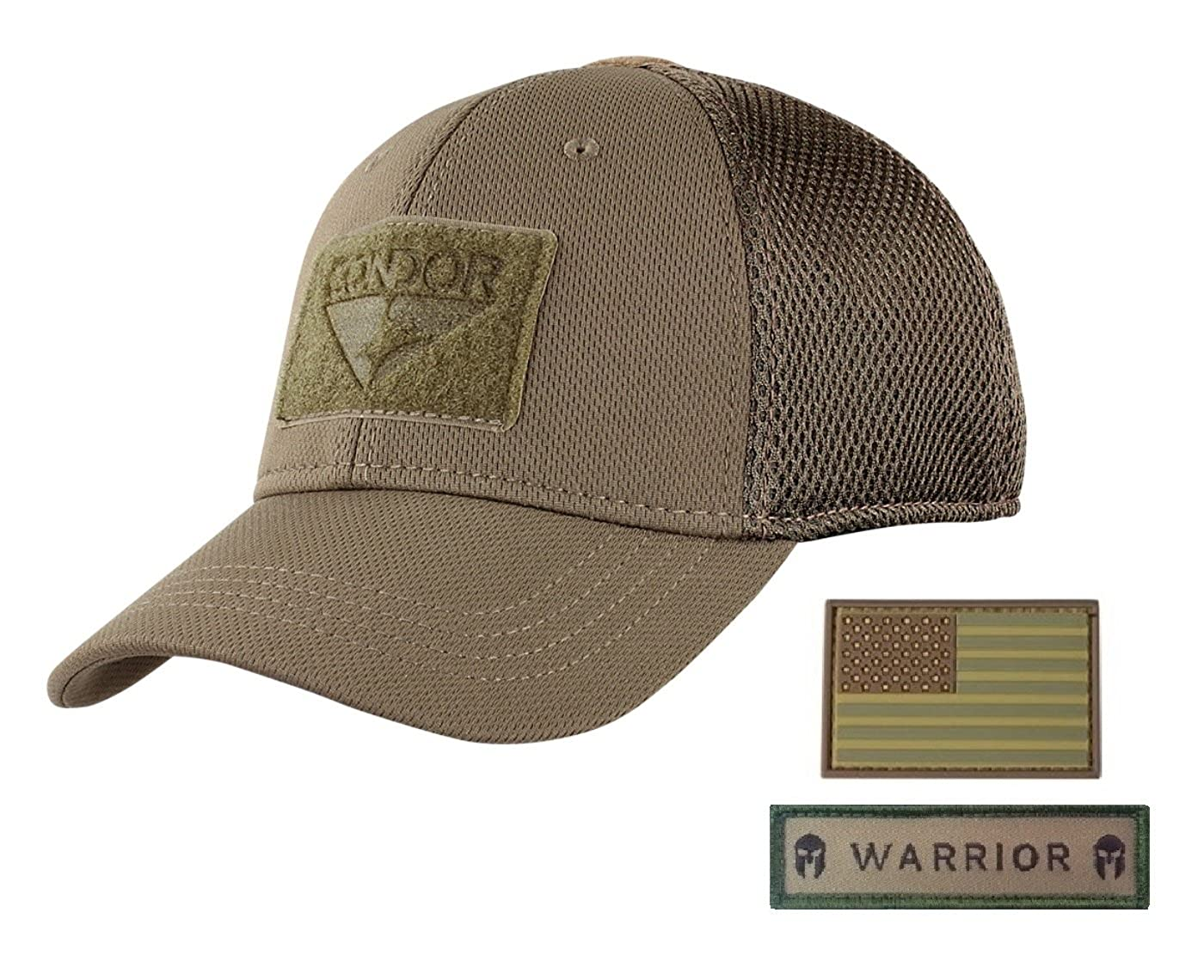 Active Duty Gear Condor Flex Mesh Cap (Brown) + PVC Flag   Warrior Patch 0c6cc9d0466