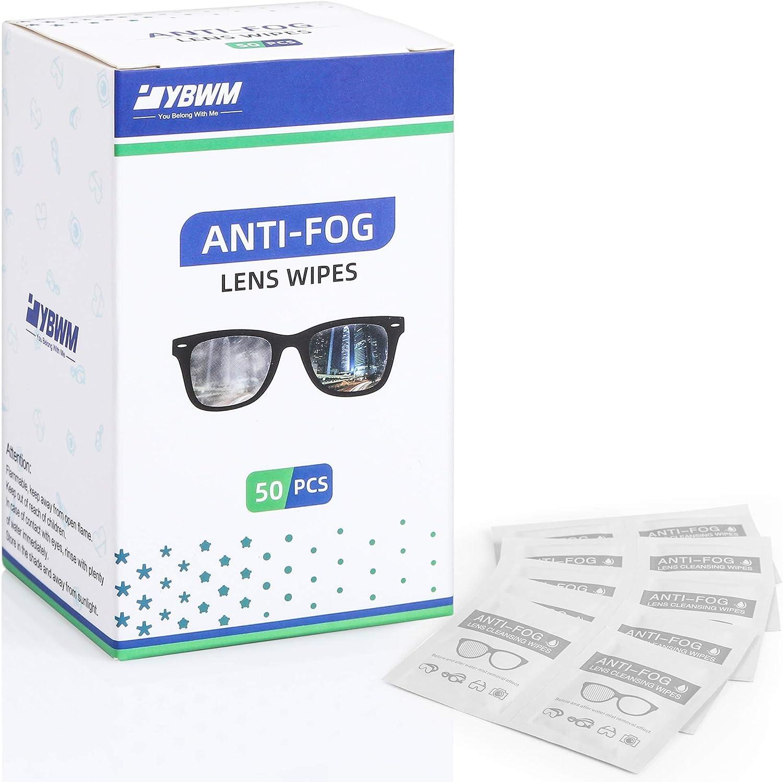 YBWM Toallitas Antivaho, Toallitas de Limpieza Antivaho, Utilizadas para Gafas, Gafas de Protección, Pantallas, Espejo de Maquillaje, Espejos de Coche, Tabletas, 50PCS