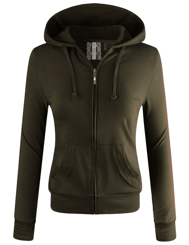 ELF FASHION Women Lightweight Cotton Hoodie Casual Long Sleeve Zip-up Jacket W/Kangaroo Pocket Olive 1XL