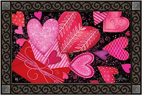 Studio M MatMates Sending Love Spring Valentine s Day Decorative Floor Mat Indoor or Outdoor Doormat with Eco-Friendly Recycled Rubber Backing, 18 x 30 Inches