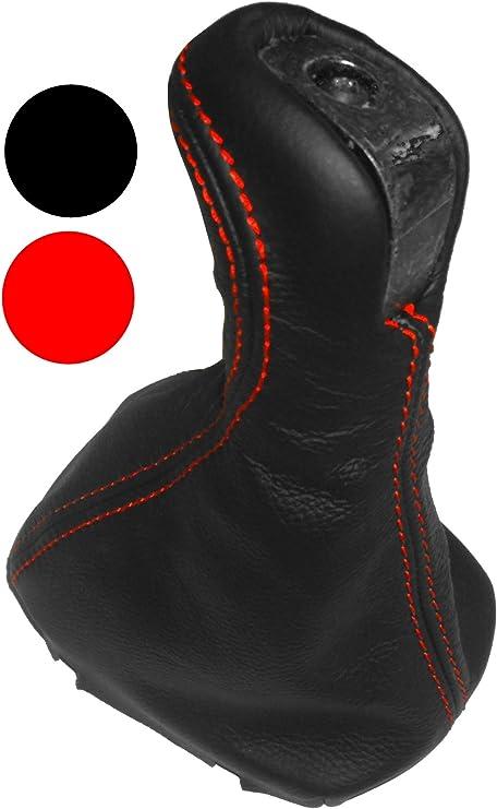 Aerzetix Schaltsack Schalthebelmanschetten Schalthebelmanschette Schaltbetatigungs Schwarze Farbe 100 Leder Nähte Roten Auto