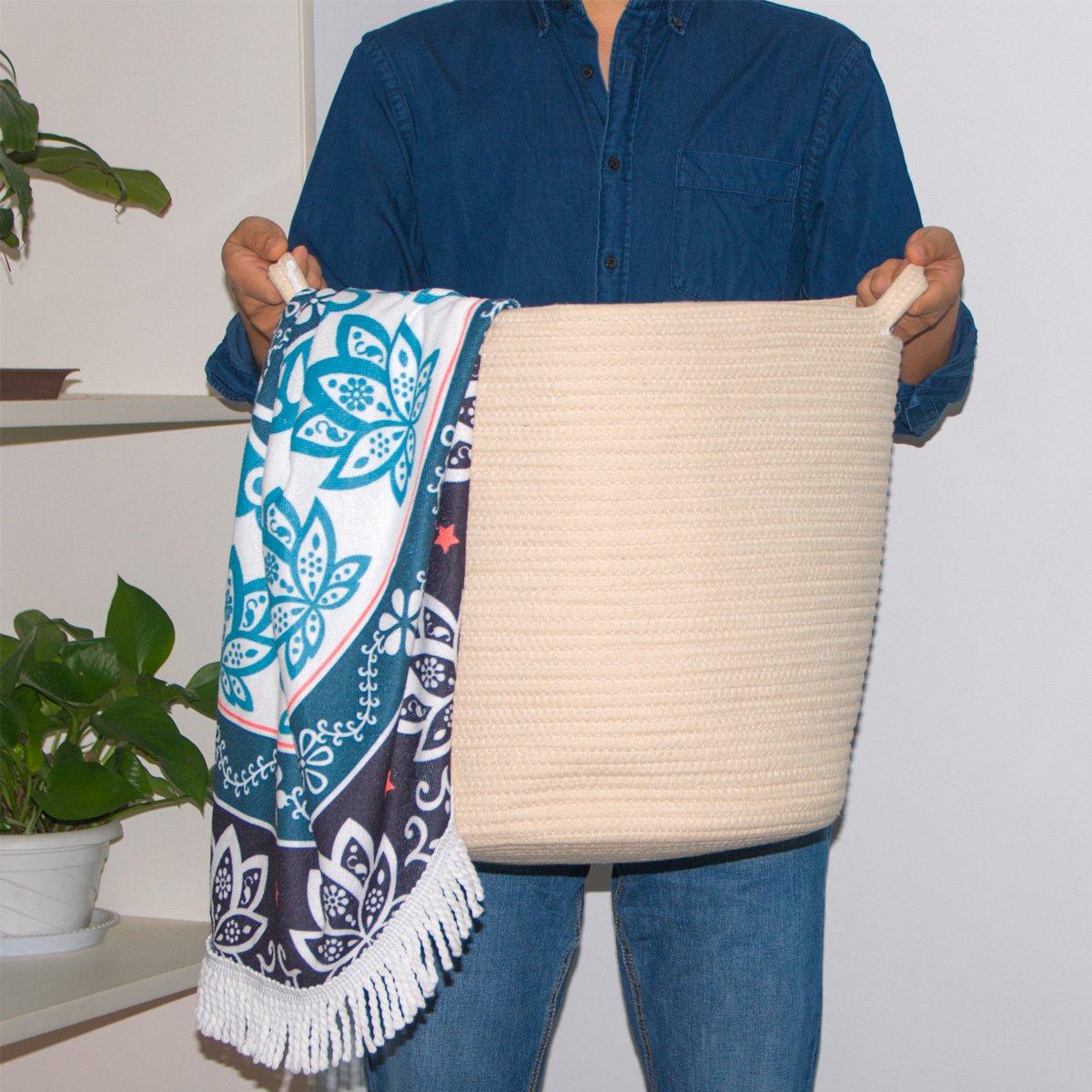 Indressme 16.0''x 15.0''x12.6'' Woven Storage Baskets - Cotton Rope Basket - Baby Nursery Basket for Toys, Towels, Blankets, Laundry Organization - Home Decor Storage Bins