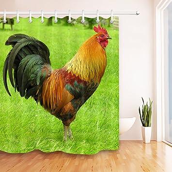 Amazon.com: LB gallo en país granja Meadow Juego de cortina ...