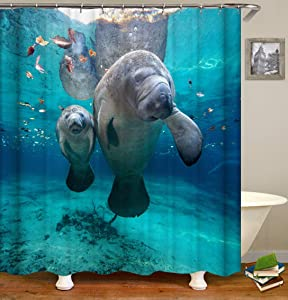 Bartori Shower Curtain Home Decor Two Real Cute Manatee in The Sea with Blue and Clean Sea Water Waterproof Polyester Fabric Bath Curtain with Size 71''X71''