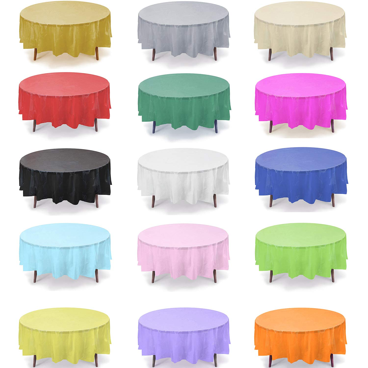 12 Pack 84'' Round Plastic Table Cover, Plastic Table Cloth Reusable (PEVA) (Gold) by Gift Expressions
