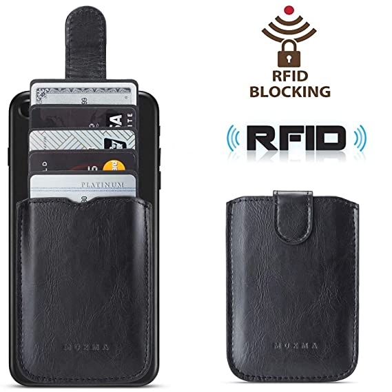 wholesale dealer a65df acaaf Phone Card Holder RFID Blocking, Pu Leather Back Phone Wallet Stick-OnPull  up 5 Card Holder Universally Pocket Covers Credit Cards Cash for iPhone XS  ...