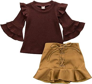 LIjieganxin 2 Piezas otoño e Invierno bebé niña Vino Tinto ...