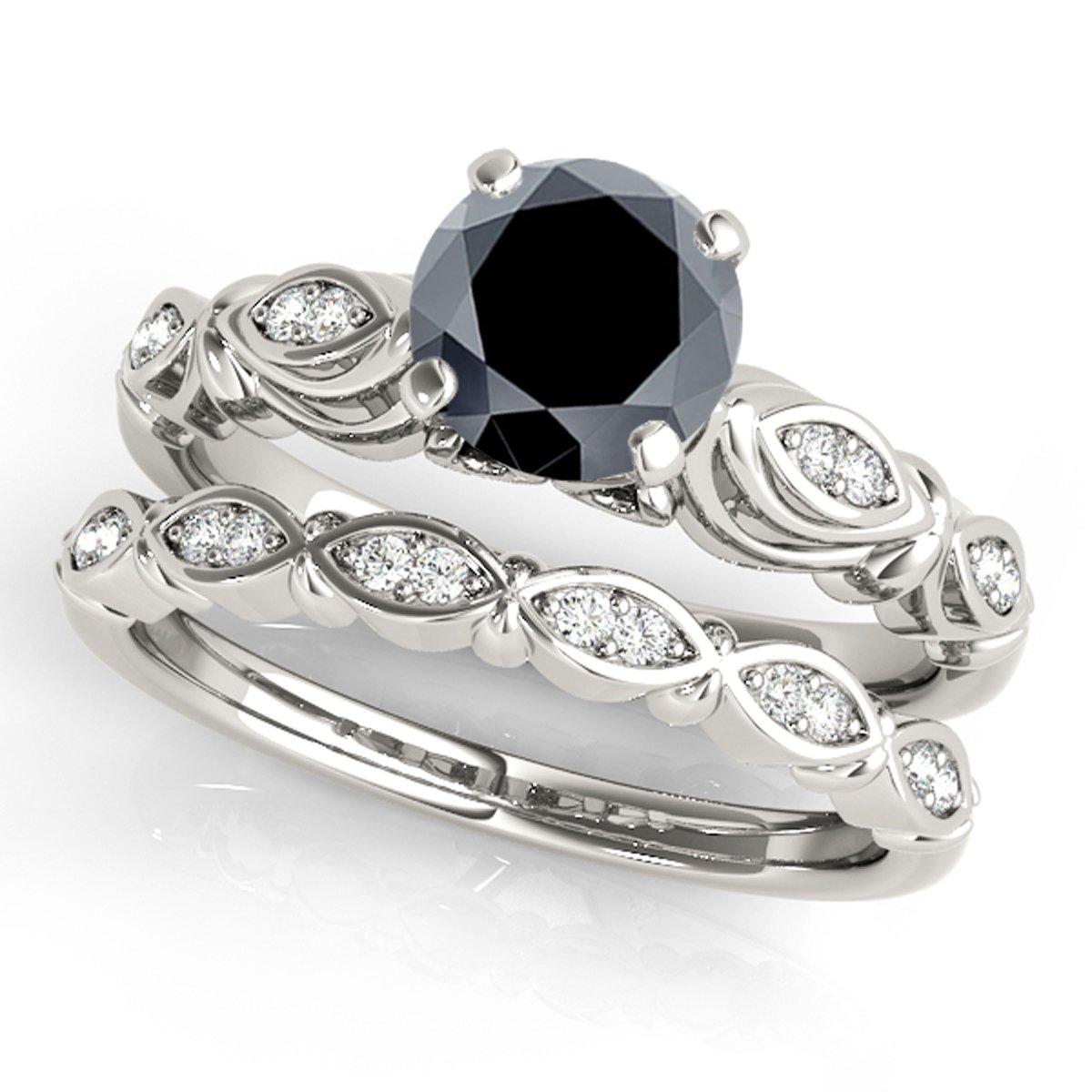 1.15 Ct. Halo Black Diamond Bridal Set In 10K White Gold