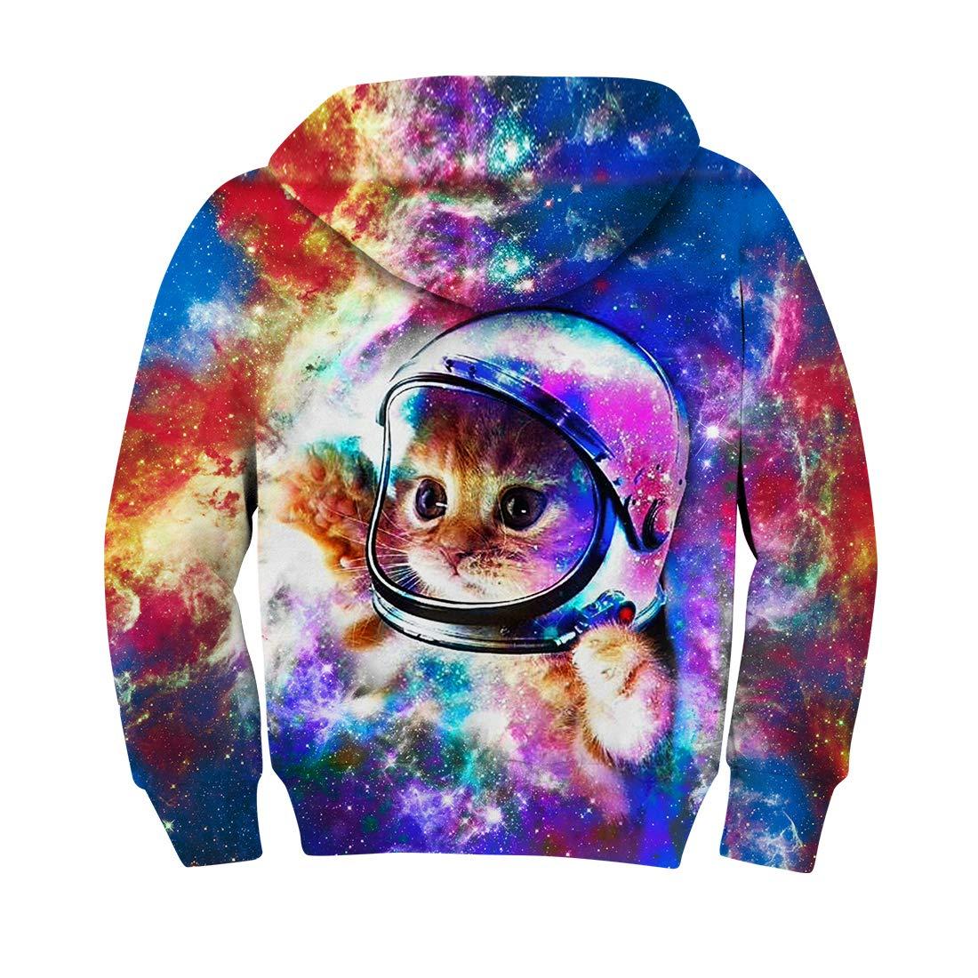 RAISEVERN Teen Jungen Mädchen 3D Print Katze im Raum Lässige Sweatshirts Langarm-Tasche Pullover Kapuzenpullover 5-8 T Kids