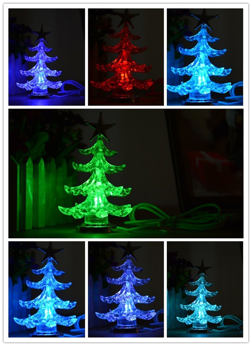 Amazon.com : USB Christmas Tree, Cafurty USB Powered Mini Multicolor ...