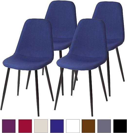 Esszimmerstühle FANO Hellblau 4er Set Retro Küchen-Stuhl Design Stühle Stoff
