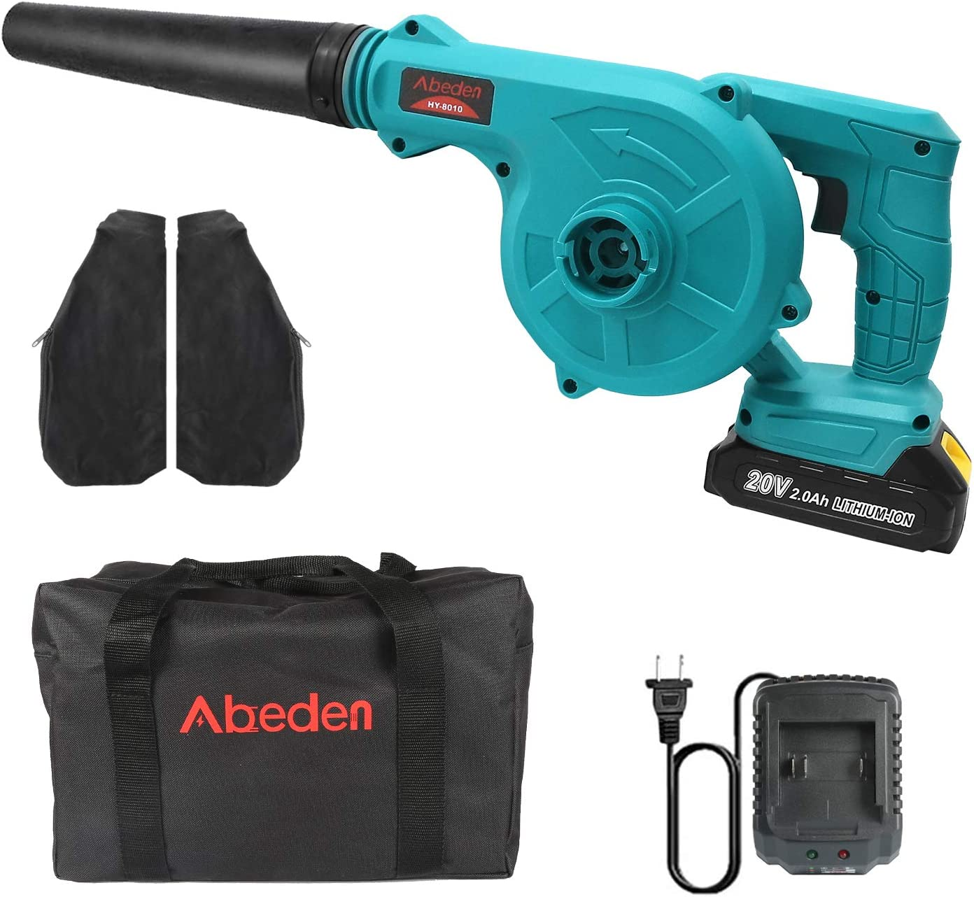 Abeden Cordless Leaf Blower, 2-in-1 Electric Handheld Sweeper/Vacuum 20V 2.0 Ah Lithium Battery for Blowing Leaf,Clearing Dust & Small Trash,Car,Computer Host,Hard to Clean Corner