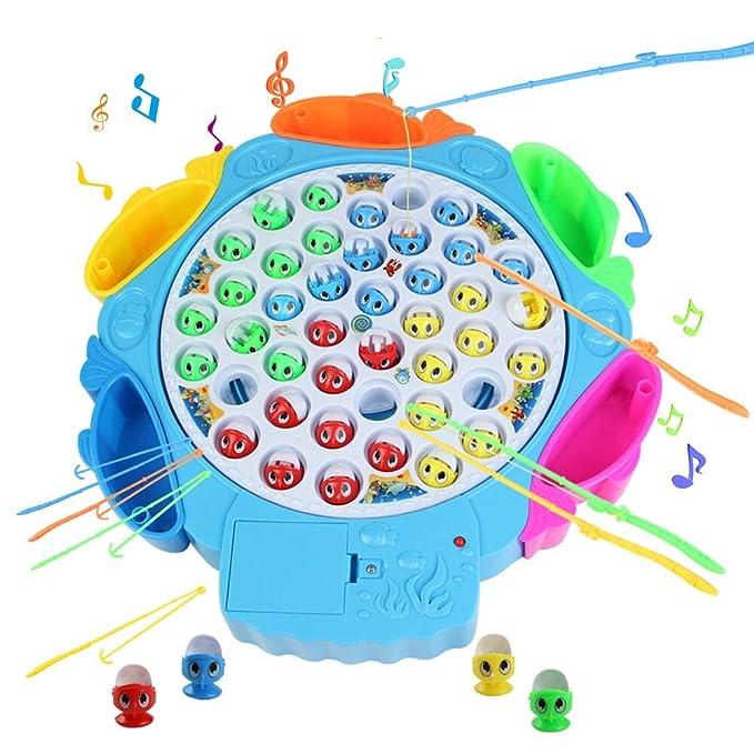 Angeln Spielzeug mit Angelruten und Fisch mit Musik Ausschaltbar für Kinder 3 Jahre , MEHRWEG ( Farbe zufällige Lieferung)