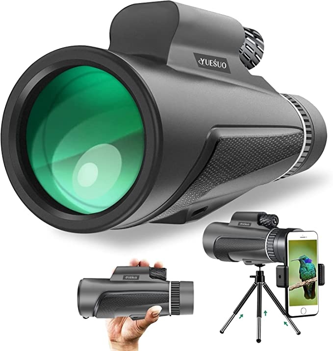 Yuesuo 12X50 Monocular Telescope,High Power Monoculars for Adults Kids with Smartphone Holder & Tripod,Waterproof,BAK4 Prism HD Monoculars for Bird Watching Hunting Hiking Wildlife Travelling