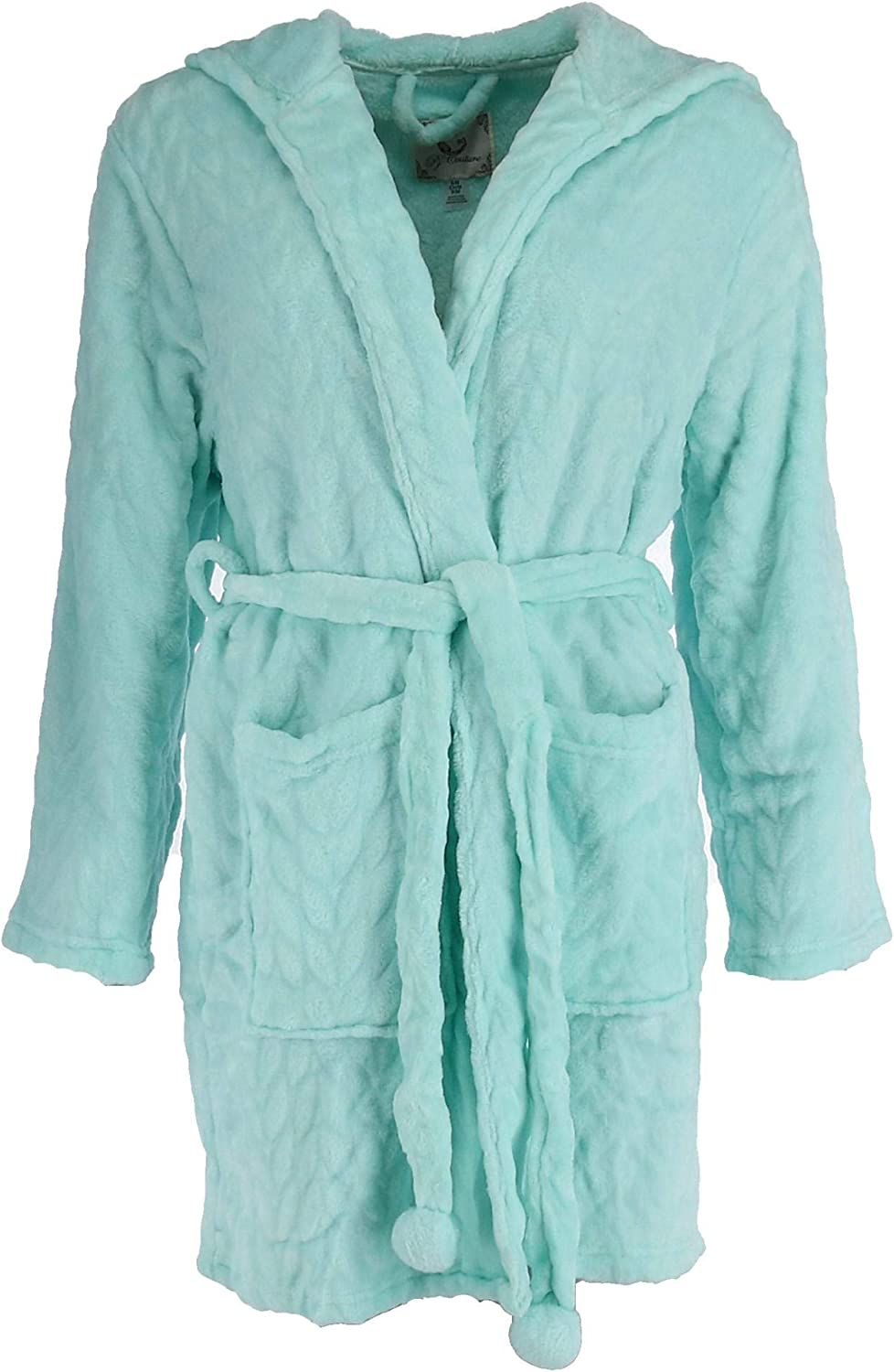PJCouture Womens Plush Hooded Short Robe