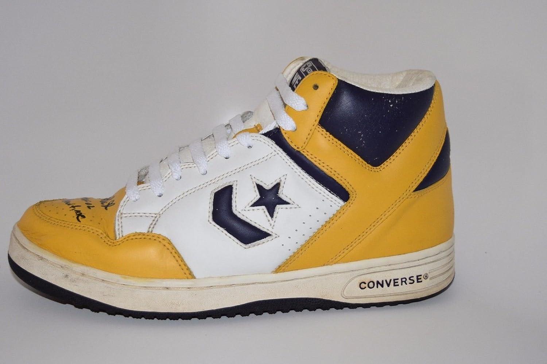 7e338058ebbe ... magic johnson signed white yellow converse weapons shoe hof 02 ...