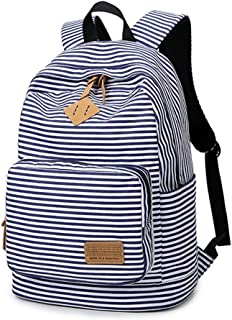WanYang Women Canvas Striped Stylish Backpack Travel Rucksack School Bag Travel Bag for Teenage Girls