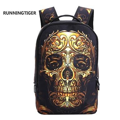 Amazon.com   3D Skeleton Skull Cool School Backpack Travel Bag ...