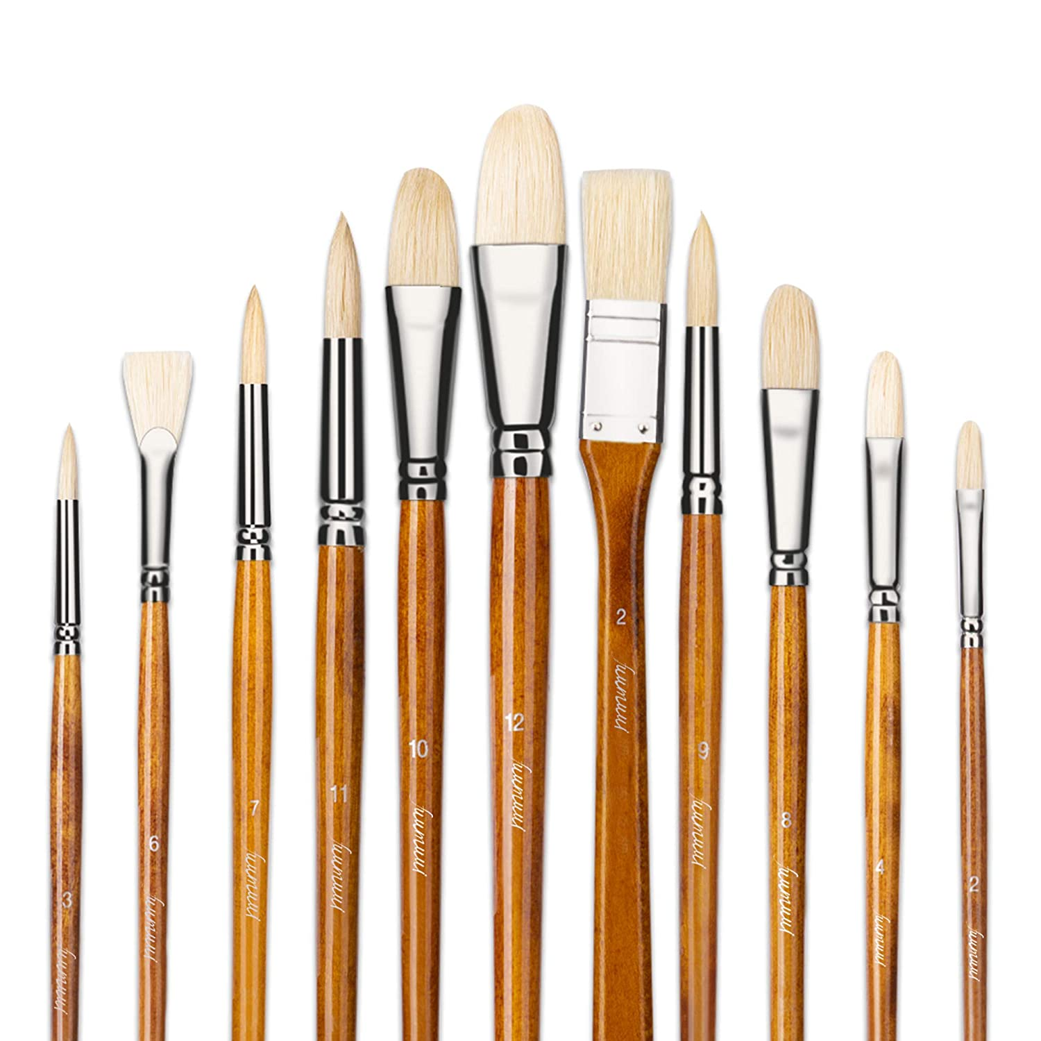 100/% Natural Chungking Hog Bristle Filbert Oil Paint Brush for Watercolor Acrylic Gouache Painting Art Supplies Paintbrushes 6pcs Artist Paint Brushes Set