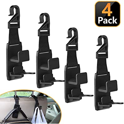 XBRN Car Hooks for Back Seat Headrest Hanger Hold Purse Grocery Bag Hat Cloth Coat 4 Pack: Automotive