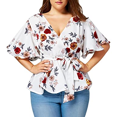 b1be7e743715 Amazon.com: UONQD Woman Fashion Womens Floral Print Plus Size Belted  Surplice Peplum Blouse V-Neck Tops: Clothing