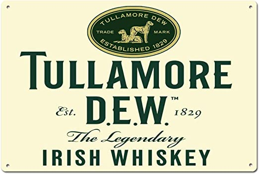 INCLUDES BRACKET TULLAMORE DEW IRISH WHISKEY WALL HANGING SIGN 15 in DIAMETER