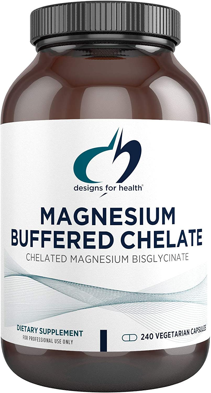 Magnesium Buffered Chelate by Designs for Health - Magnesium Supplement - 300 mg Magnesium Bisglycinate Chelate Buffered to Support Sleep, Energy, Muscles + Calm - Non GMO + Gluten Free (240 Capsules)