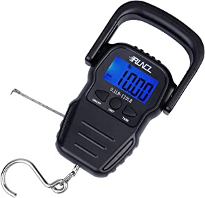 RUNCL Digital Fishing Scale, Portable Luggage Scale, Weight Scale 110lb/50kgs - LCD Display, Data Lock Function, Auto-Off, 63